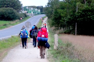 The trail has become much more crowded since leaving Sarria and passing the 100 kilometer marker!